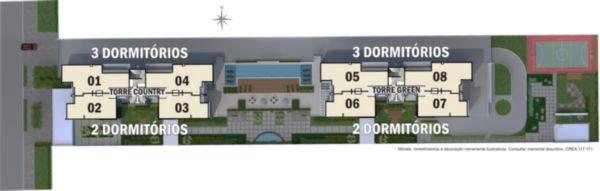 Apartamento amplo com 2 dormitórios, sendo 1 suíte, banheiro social, churrasqueira, copa cozinha, lavanderia, vista panorâmica, 1 vagas de garagem, infraestrutura completa com  piscina, playground, fitness center, espaço gourmet, salão de festas, salão de jogos, quadra de esportes, churrasqueira, quiosque, portaria 24h,  zelador, 4 aptos por andar.